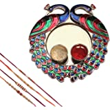 Mela Set Of 4 Rakhi With Decorative Pooja Plate (Peacock) And Kumkum Chawal For Men