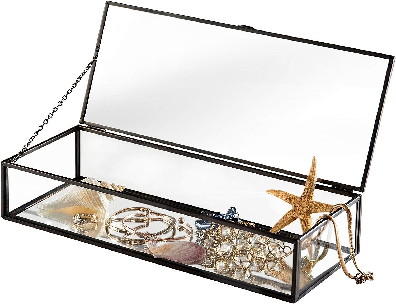 en M/étal de Style R/étro et Verre Clair Miroir Shadow Box Pr/ésentoirs Bijoux Coque W//Couvercle /à Charni/ère Antique Noir