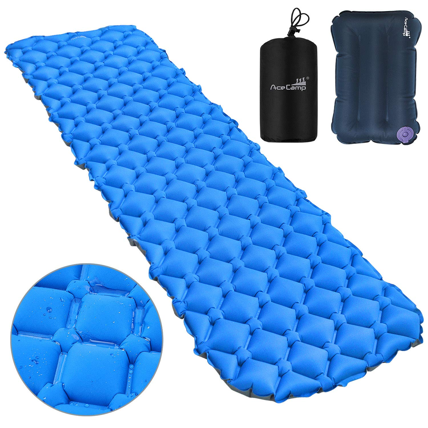 AceCamp Sleeping Pad,Ultralight Camping Sleeping Pad Inflatable Camp Pad with Travel Pillow for Backpacking and Hiking by AceCamp