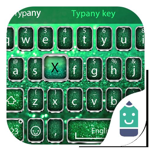 Green Glitter Theme&Emoji Keyboard ()