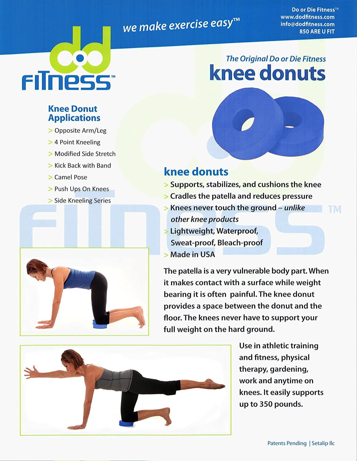 Amazon.com : dod fitness Knee Donuts: support and cushion your knees ...
