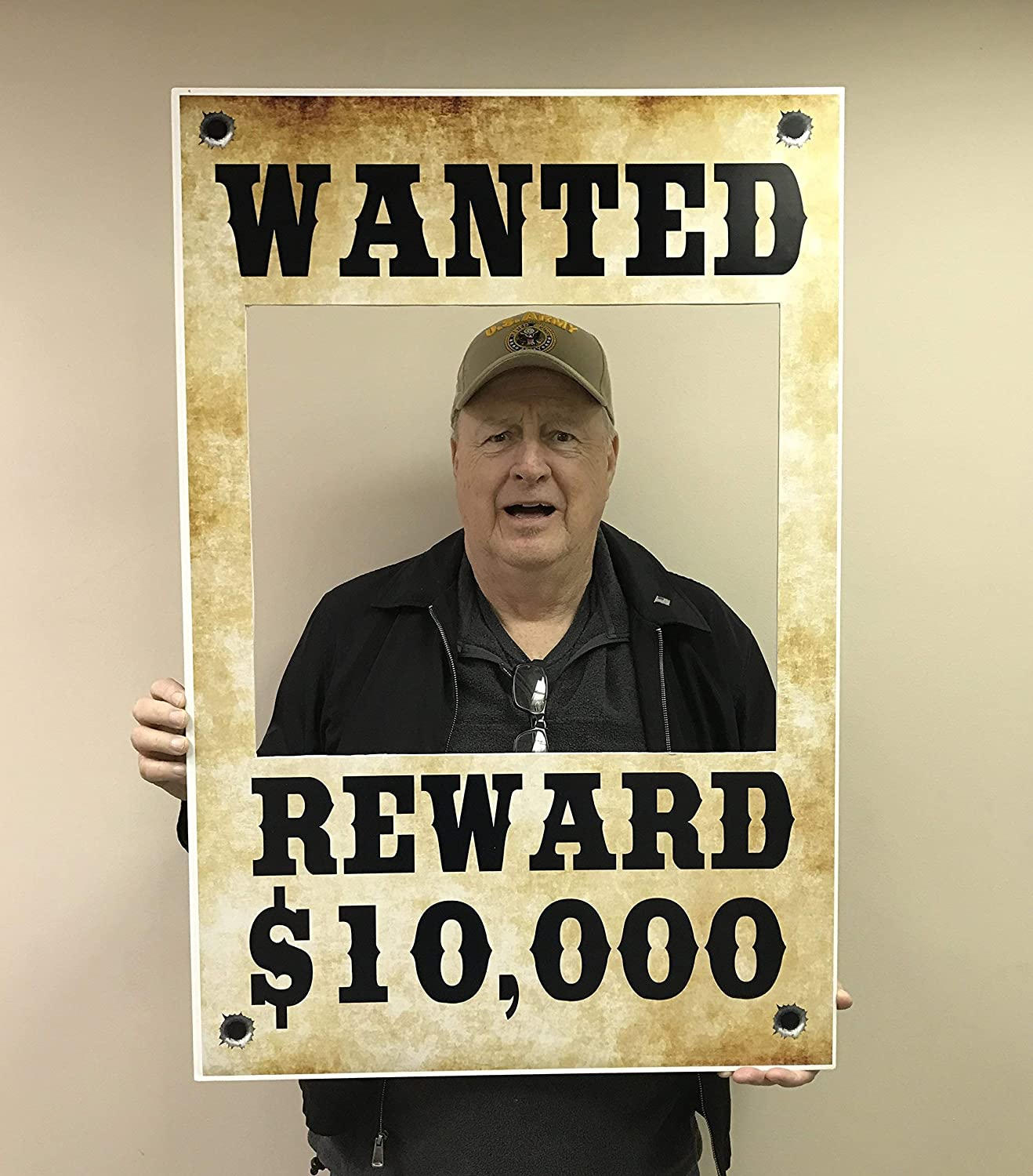 Wanted Wild West $10,000 Reward Selfie Frame Photo Booth Prop Poster