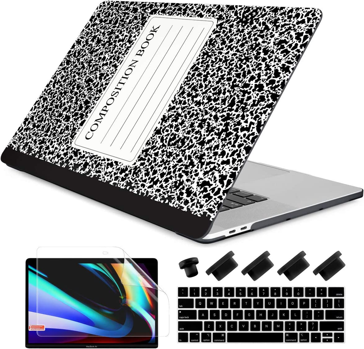"""Dongke Macbook Pro 13 inch Case 2019 2018 2017 2016 Release A2159 A1989 A1706 A1708, Composition Book Frosted Matte Hard Shell Cover & Keyboard Cover Compatible with MacBook Pro 13"""" With/out Touch Bar"""