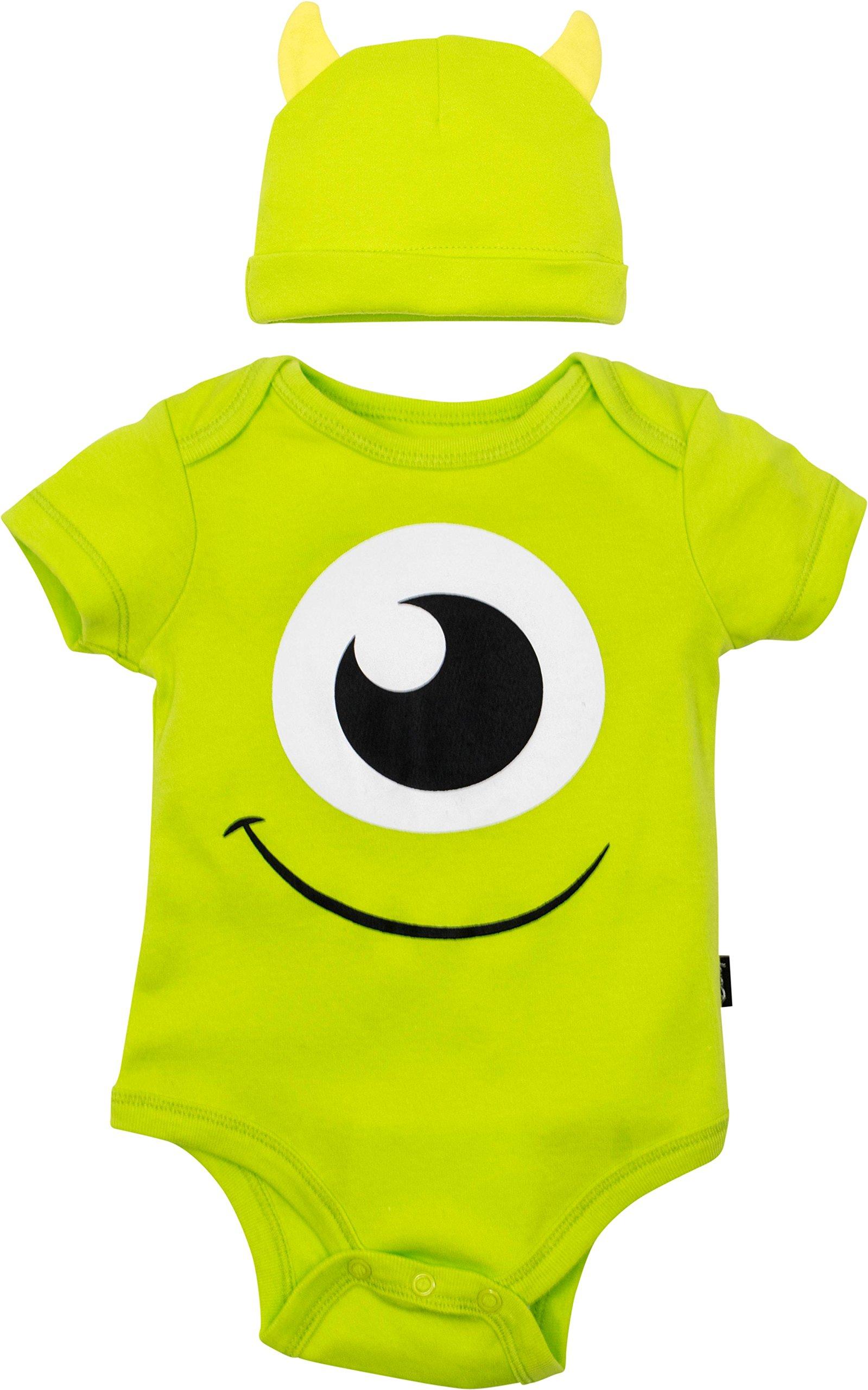 Disney Pixar Monsters Inc. Mike Wazowski Baby Boys' Costume Bodysuit & Hat Green (0-3 Months)