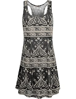 601001a96fa9e Hibelle Women's Scoop Neck Sleeveless Casual Printed Tank Dress with Pockets