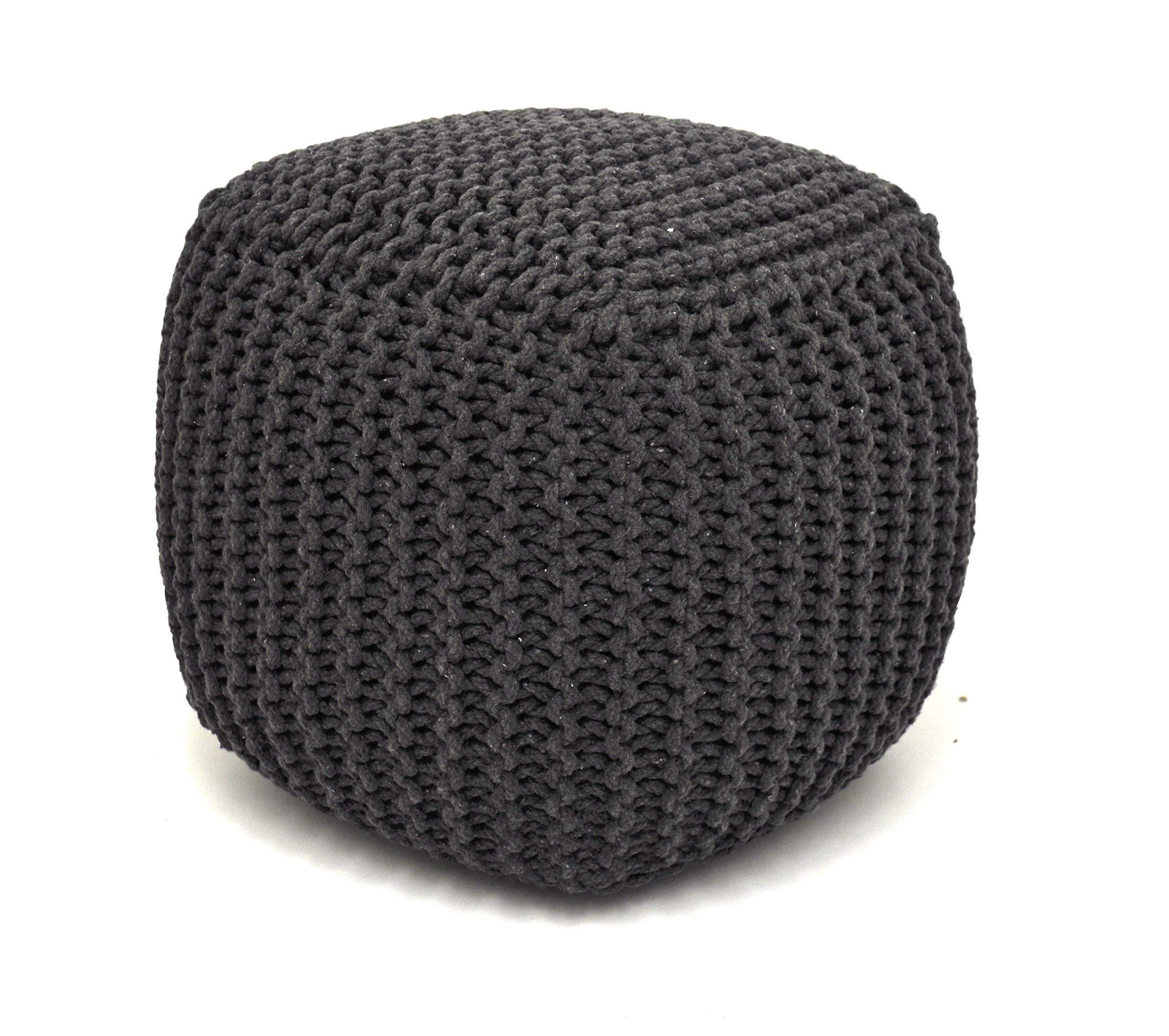 Urban Shop Square Knit Pouf, Grey by Urban Shop