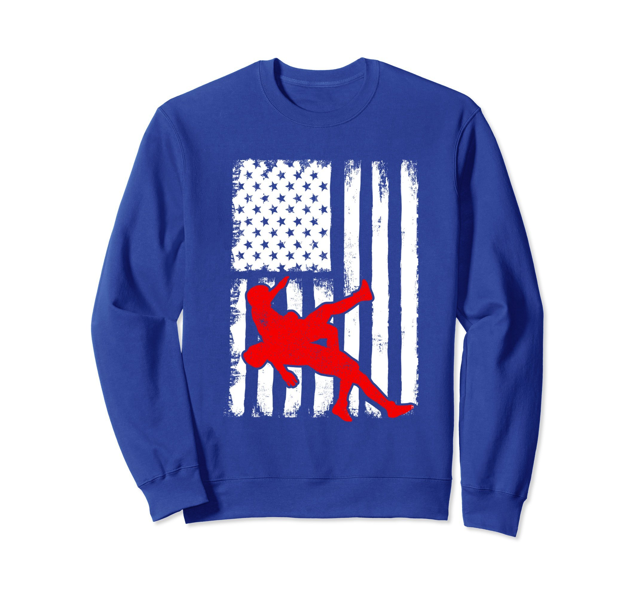 Unisex USA Flag Wrestling Sweatshirt for Wrestlers, Gift, Red Medium Royal Blue by Wrestling Shirts and Wrestling Shoes