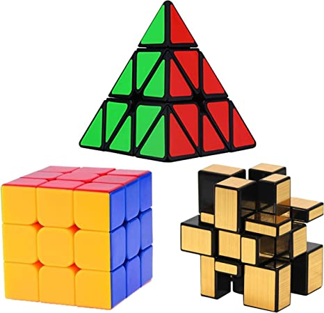 INFInxt Rubik Cube ,Pyramid Triangle and Mirror Cube 3x3x3 high Speed Cube (Set of 3)