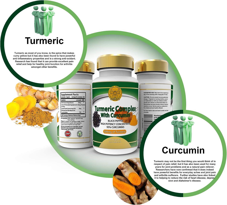 Cúrcuma Curcumina Con Bioperine Pimiento Negro Para Absorción Máxima. 1510mg Potencia Más Alta. 95% Curcuminoides Estandarizados. 120 Cápsulas de Veg. ...