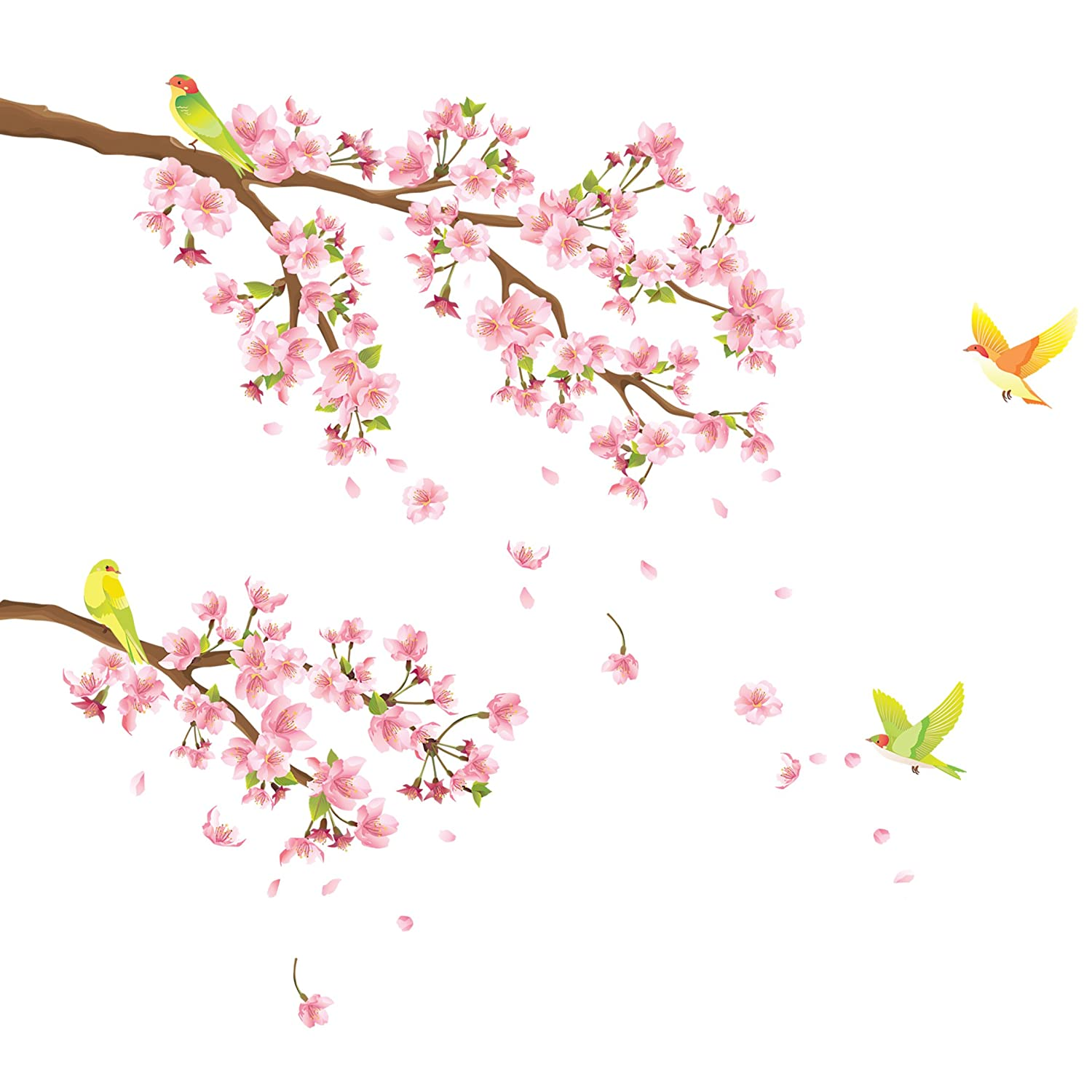 Decowall DW-1303 Cherry Blossoms & Birds Peel and Stick Nursery Kids Wall Decals Stickers