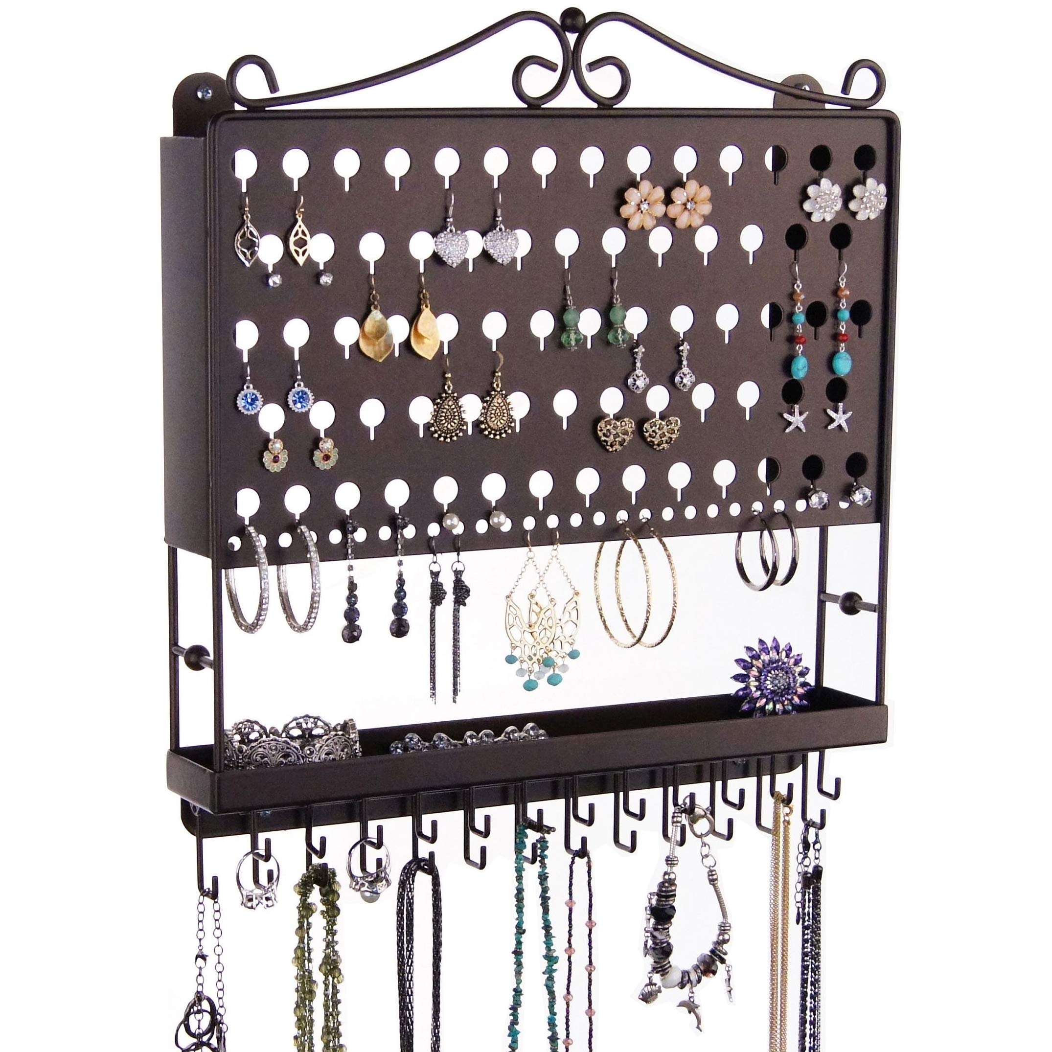 Angelynn's Hanging Jewelry Organizer Earring Holder Wall Mount Closet Necklace Storage Bracelet Rack, Rubbed Bronze