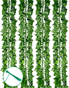 PONKING 12 Pack 86.5 FT Artificial Ivy Garland Fake Greenery Leaf Vines Hanging Plants for Home Wedding Garden Frame Decoration