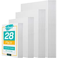 Pre-Primed Painting Canvas Panels, 28 Boards Multi-Pack, 5 x 7, 8 x 10, 9 x 12, and 11 x 14, White Cotton Canvases for…