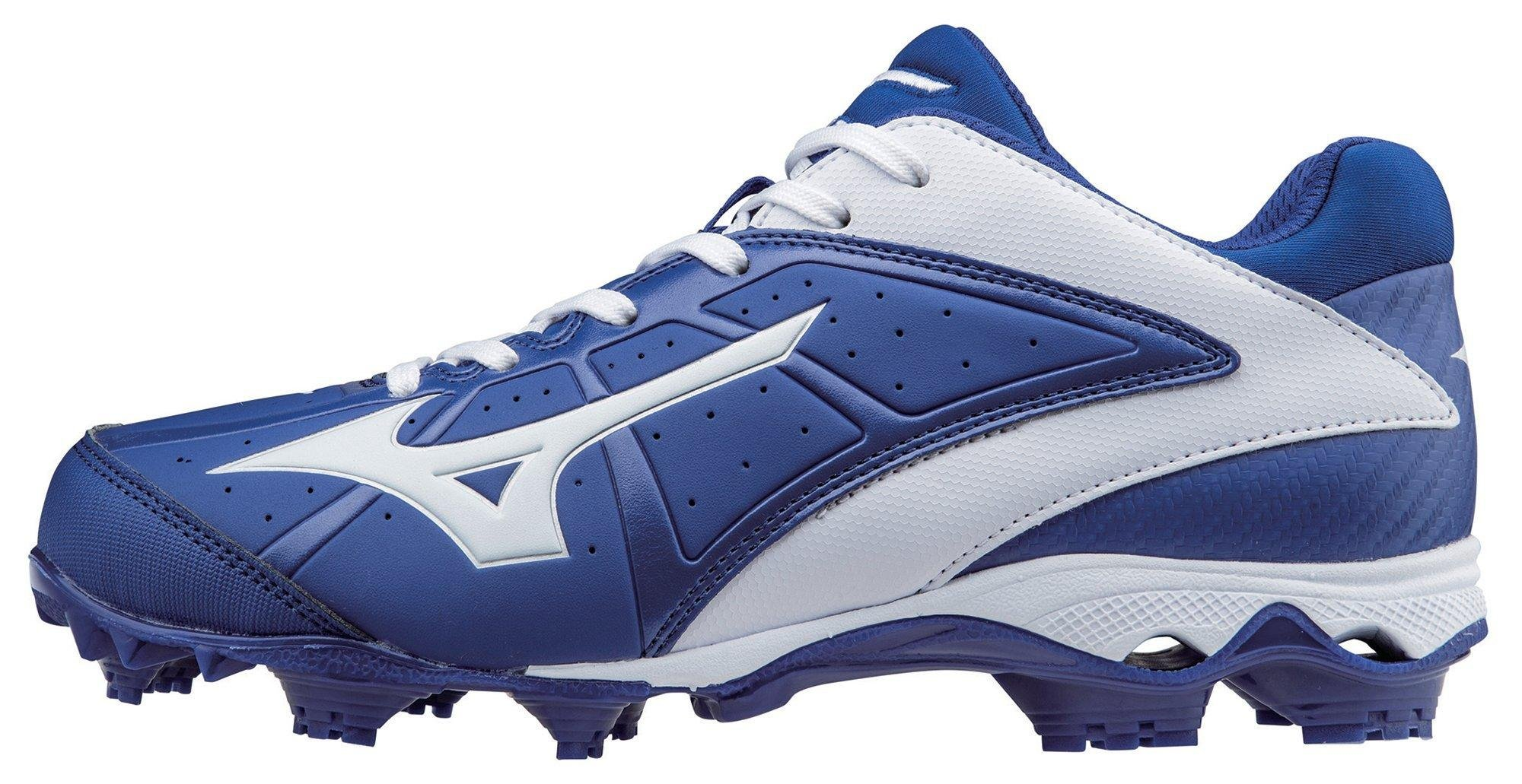 Mizuno Women's 9 Spike ADV Finch Elite 2 Fast Pitch Molded Softball Cleat, Royal/White, 9 M US