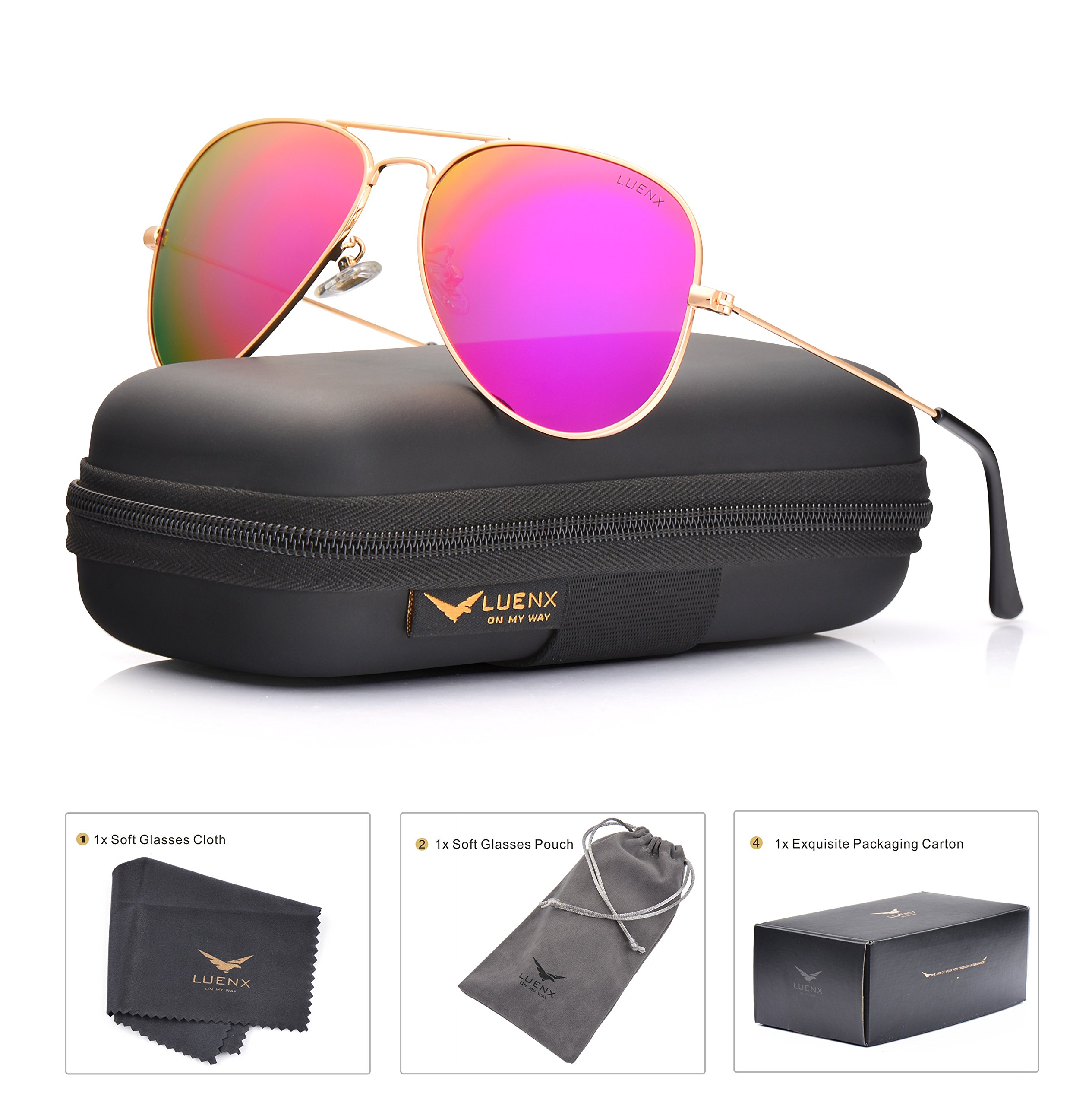 LUENX Womens Mens Aviator Sunglasses Polarized Mirrored Rose Red Lens Metal Frame with Case 60MM UV 400 Driving