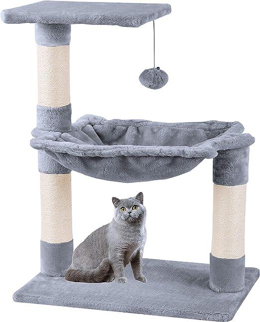 Mcdear Árboles para Gatos Rascador para Gatos Sisal Plush con Pelota Hamaca 70cm Gris: Amazon.es: Productos para mascotas
