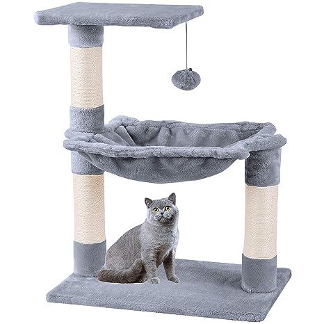 Mcdear Árboles para Gatos Rascador para Gatos Sisal Plush con Pelota Hamaca 70cm Gris