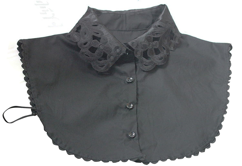 Neue Women's Fake Half Shirt Bluse Stehkragen PeterPan abnehmbarer Kragen Unisex-Krawatte, Schwarz