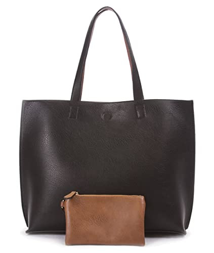 7983ea3c297 Overbrooke Reversible Tote Bag, Black   Tan - Vegan Leather Womens Shoulder  Tote with Wristlet