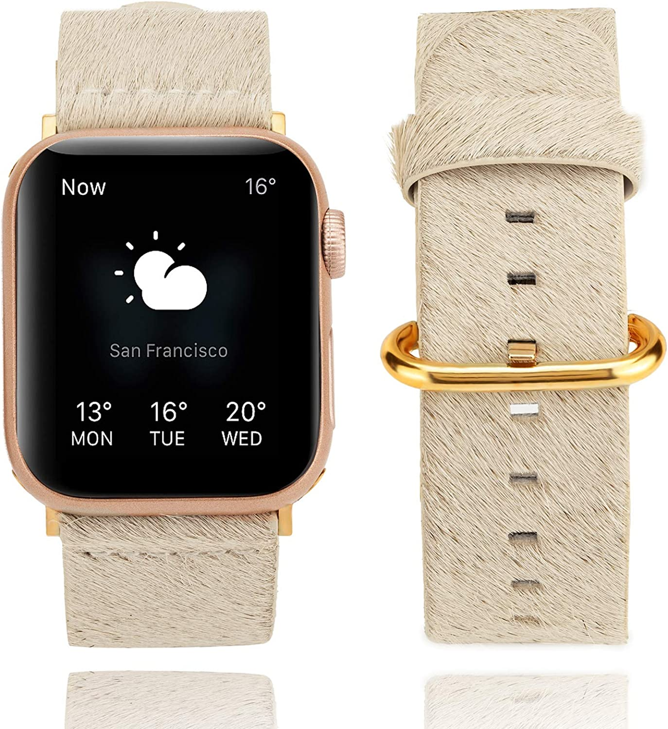TINOBAND Genuine Leather Bands Compatible with Apple Watch Band 38mm/40mm, 42mm/44mm for Women Men, Leather Replacement Strap for iWatch SE Series 6/5/4/3/2/1