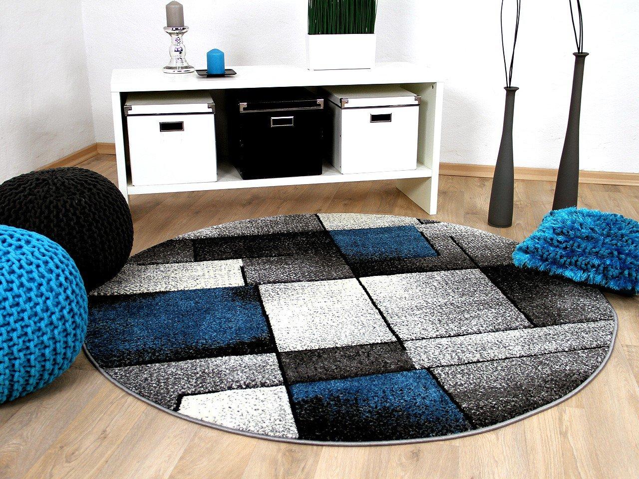 Designer Teppich Brilliant Grau Türkis Fantasy Rund in 3 Größen