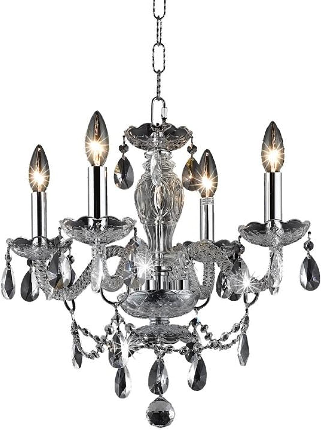 Elegant Lighting 7834D17C//RC Princeton 18-Inch High 4-Light Chandelier Clear Chrome Finish with Crystal Royal Cut RC Crystal