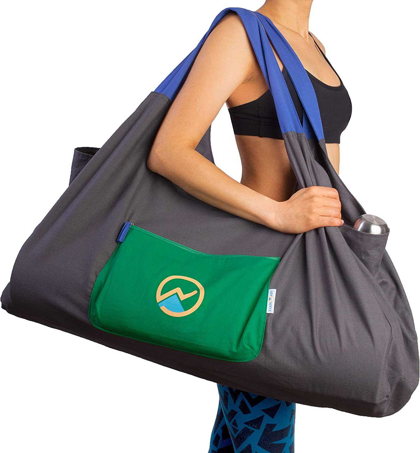 Amazon Com Joynwell Full Zip Extra Large Yoga Mat Bag With Sewn In Mat Holder Straps And 3 Pockets Fits All Your Yoga Accessories Blocks And Bolsters Multi Functional Durable Gym Bag Gray Sports