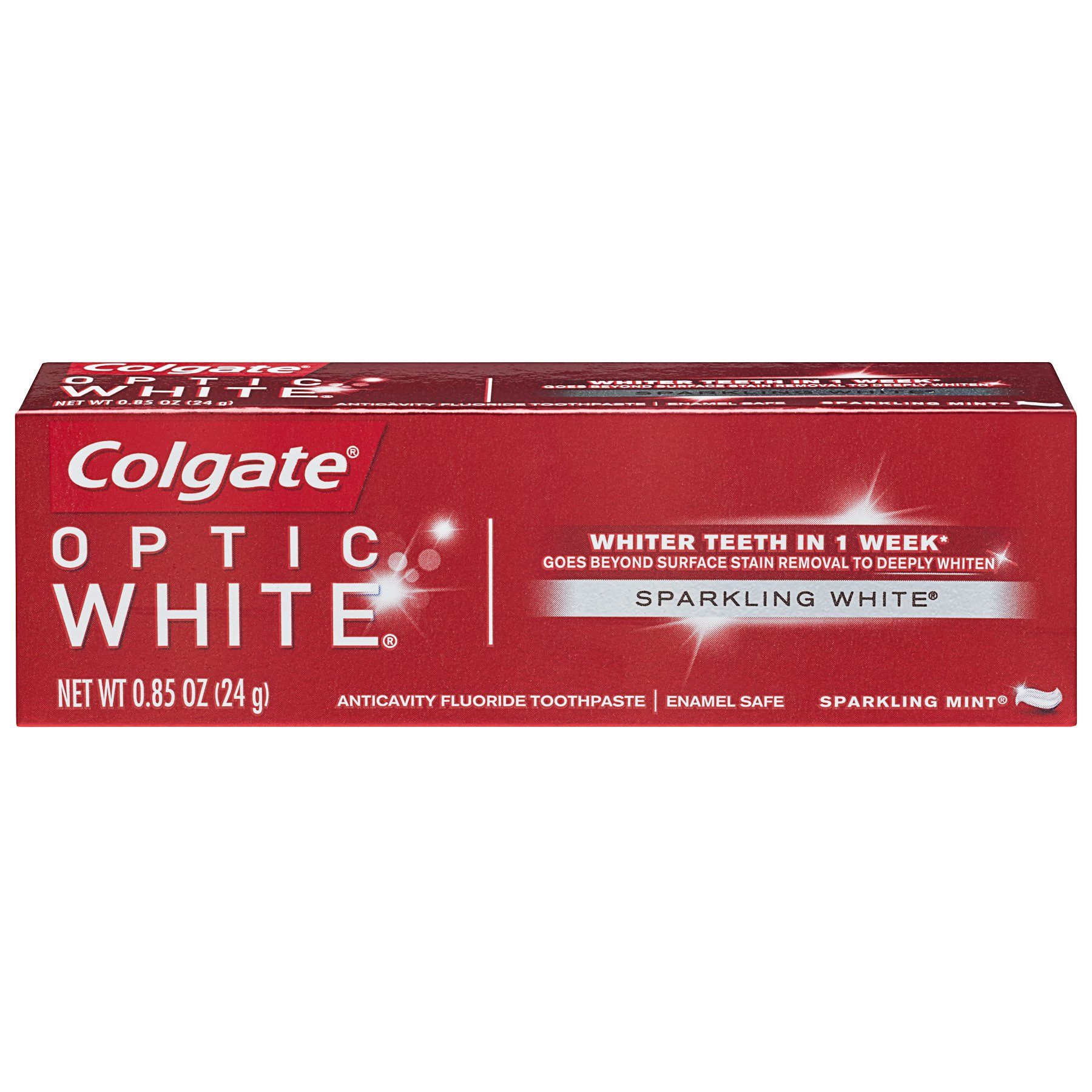 Colgate Optic White Whitening Toothpaste, Sparkling White - 0.85 ounce (Case of 24)