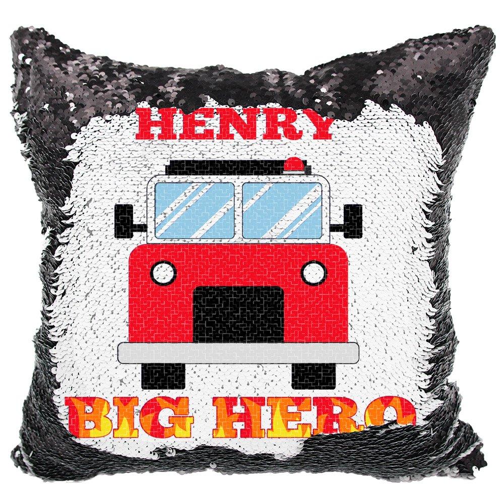 VeraFide Reversible Sequin Pillow for Boys, Custom Sequin Pillow Big Hero Firefighter (White/Black)