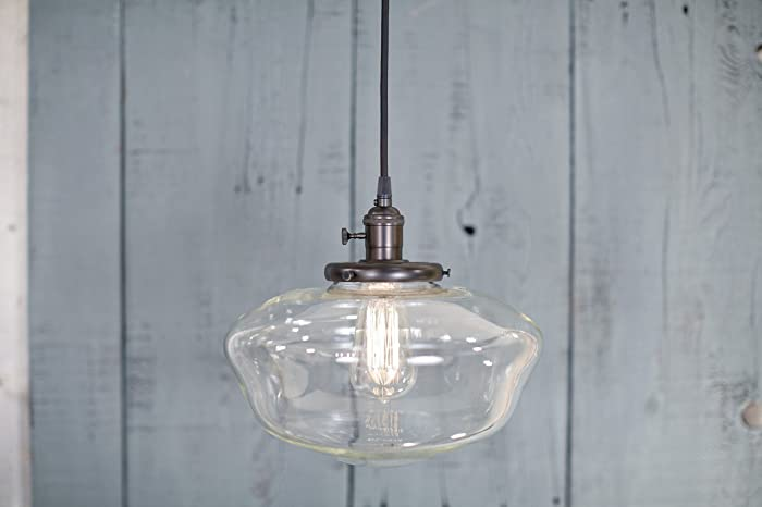 Pendant Light Schoolhouse Style Clear 12 Inch