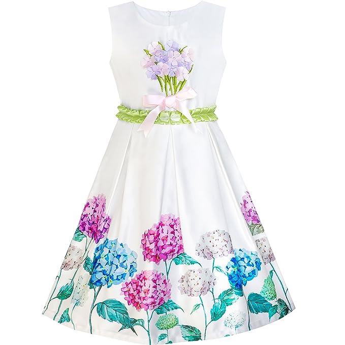 f07466c28 Sunny Fashion Vestido para niña Armada Azul Flor Cinturón Vendimia ...