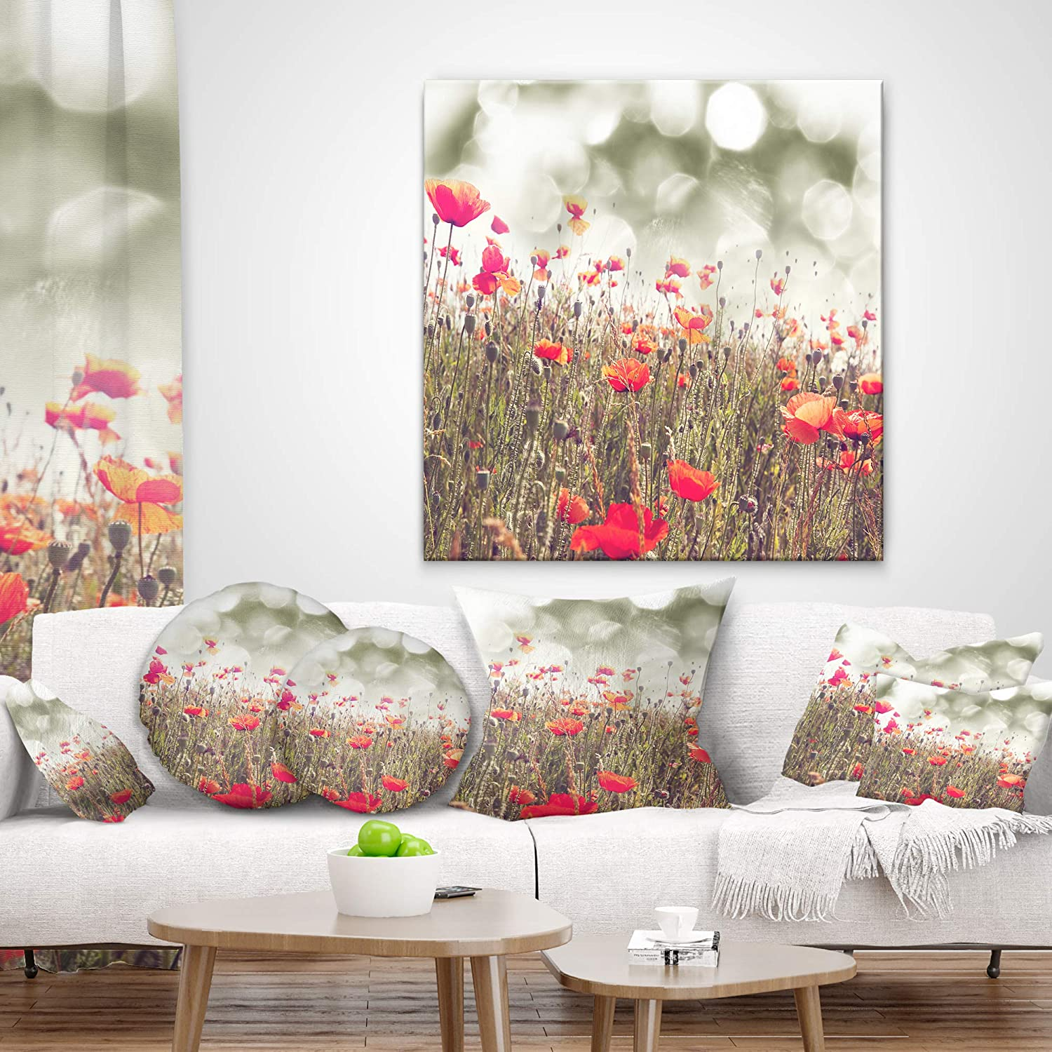 in x 20 in Designart CU12704-12-20 Red Poppy Flowers Meadow Floral Lumbar Cushion Cover for Living Room Sofa Throw Pillow 12 in Insert Printed On Both Side