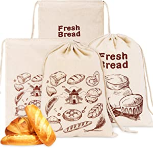 Whaline 4 Pcs Linen Bread Bags Bread Storage Bag Natural Unbleached Bread Bag Food Storage Bag Reusable Drawstring Bag for Home Food Storage, Ideal Gift for Baker 26 x 38cm, 2 Styles