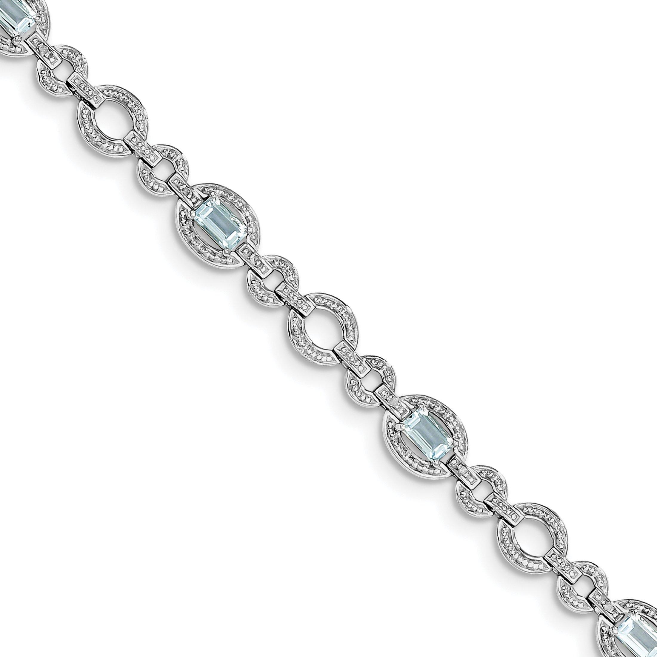 ICE CARATS 925 Sterling Silver Diamond Swiss Blue Topaz Oval Bracelet 7 Inch Gemstone Fine Jewelry Gift Set For Women Heart
