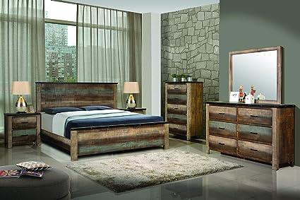 Amazon Com Coaster Home Sembene Bedroom Rustic Antique Multi Color