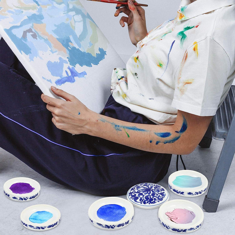 Artibetter Cer/ámica China Pintura de 5 Capas de Porcelana Apilable Paleta de Pintura Mezcla Bandejas Acuarela Pintura Paleta Contenedor Plato para Guache Peque/ño Almacenamiento de Joyas