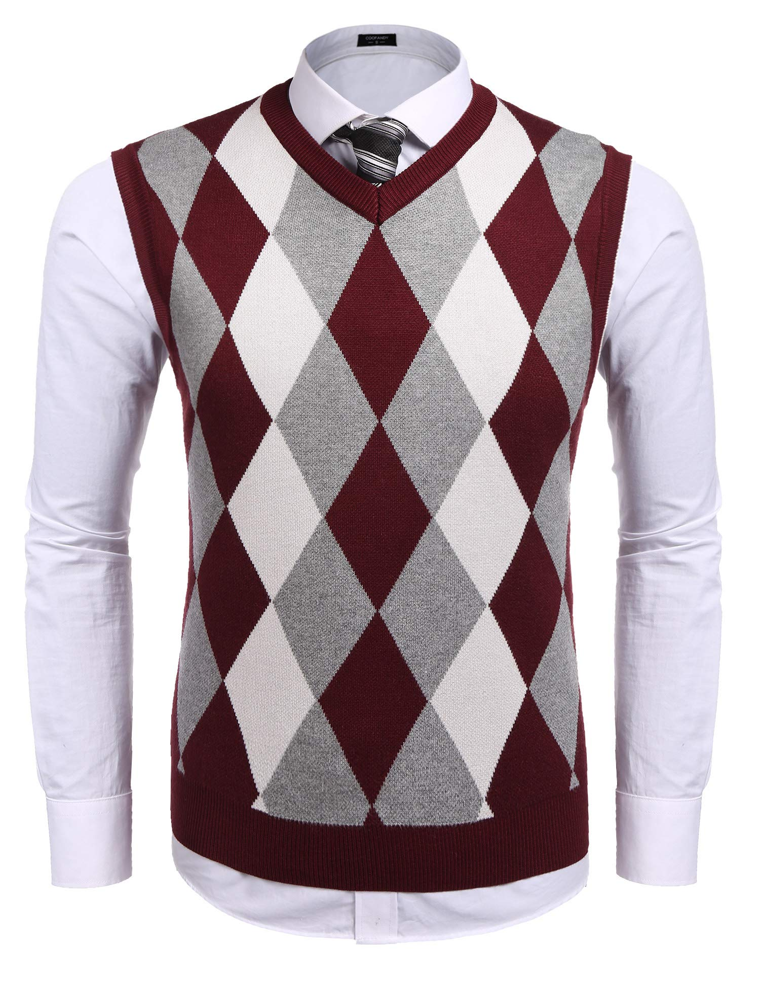 Coofandy Men's Casual Slim Fit V-neck Rhombus Business Knitwear Sweater Vest,X-Large,Wine Red by COOFANDY