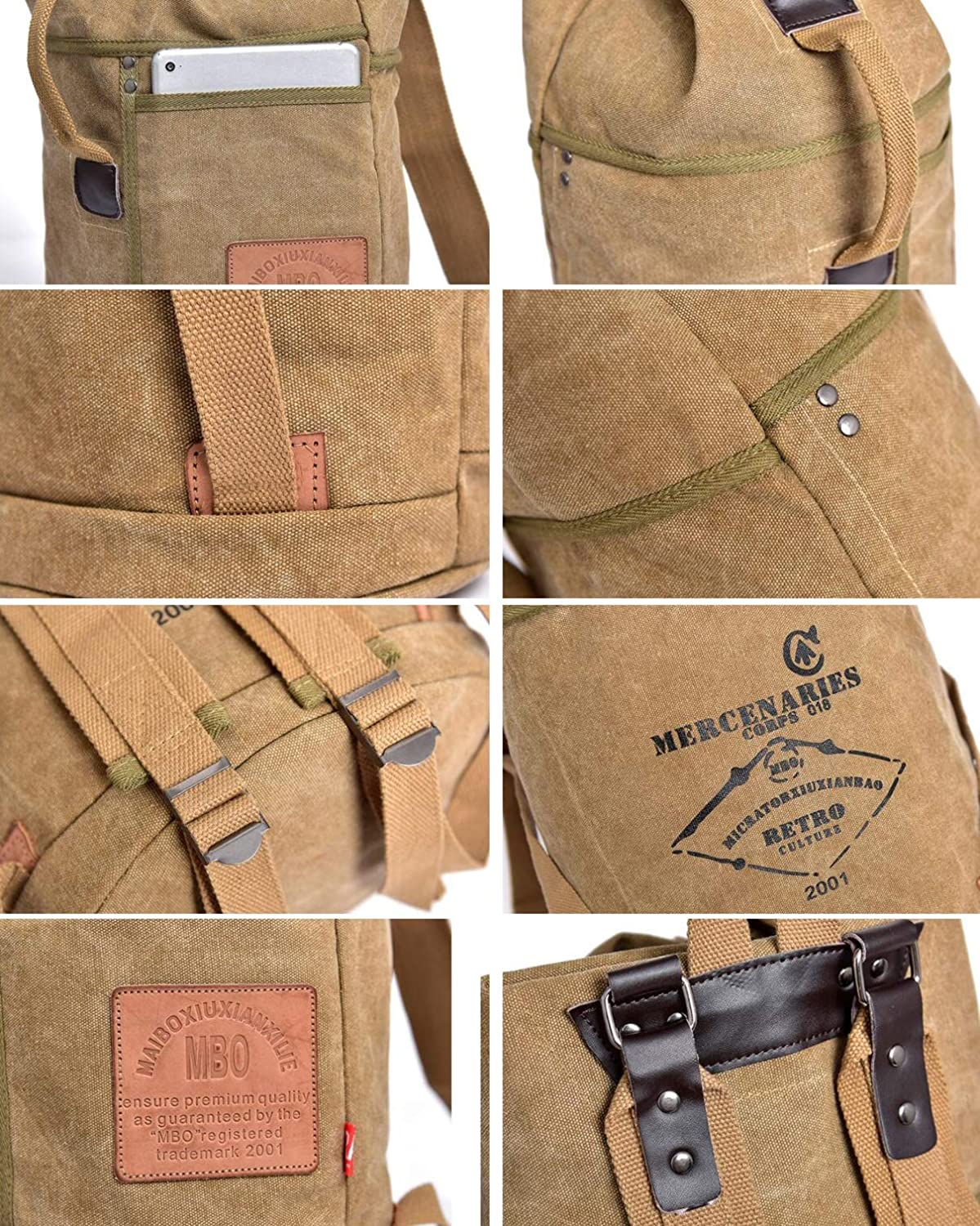 ,A fenmei Womens Bucket Bag Mens Student Bag Outdoor Leisure Large Capacity Backpack Canvas Vintage Large Capacity Work Double Shoulder Backpack