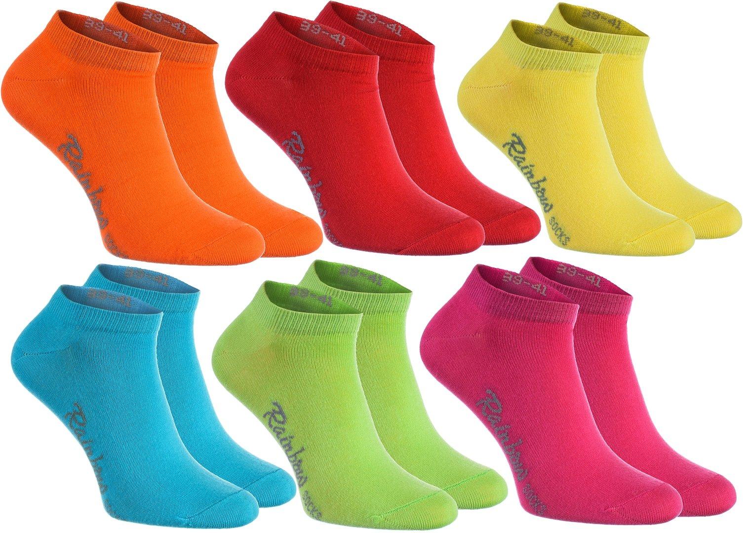 Rainbow Socks 6, 9 o 12 pares de calcetines cortos en 12 colores de moda