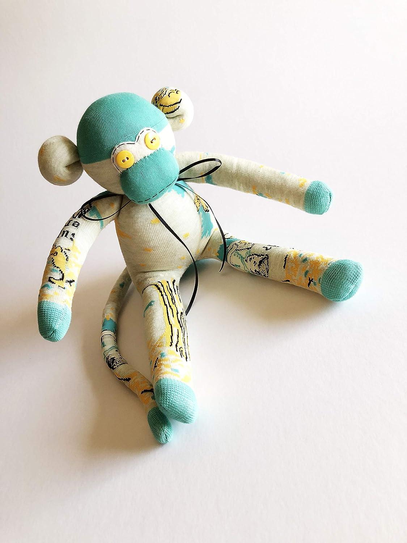 Nerdy Gift Book Lover Gift Nerd Sock Monkey Sock Monkey Tan Beige Sock Monkey Nerd Gift Book Worm Sock Monkey Librarian Gift
