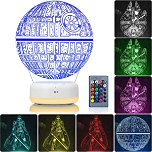 3D Star Wars Night Light, 3 Patterns and 16 Color Change Night Light, Kids' Room Decor Lamps, Star Wars Toys and Star Wars Gifts for Kids and Star Wars Fans