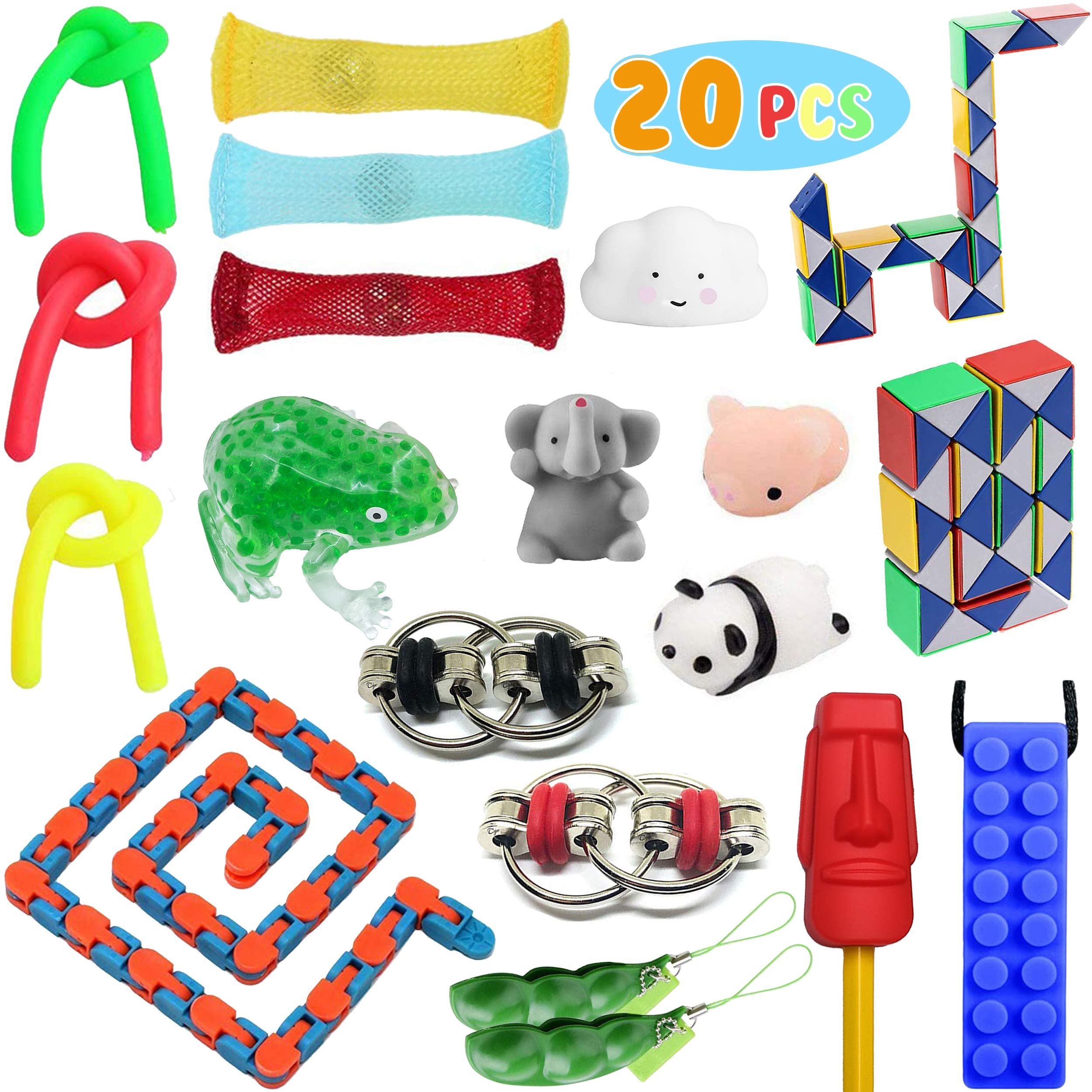 Fidget Toys Set, 20 pcs. Sensory Tools Bundle Stress Relief and Anxiety for Children & Adults. Special Toy Pack Assortment of Chew Necklace, Squeeze Frog,Flip Chains,Squishy Mochi, Marble Mesh & More.
