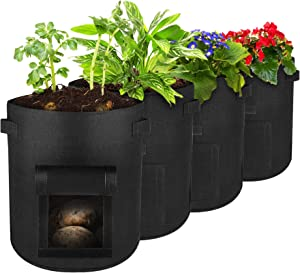 Potato Grow Bags ,Famistar Plant Grow Bags10 Gallon Planting Fabric Pots Heavy Duty Fabric Pots with Handles , Garden Bags for Vegetables, Tomatoes, Carrots, Onions
