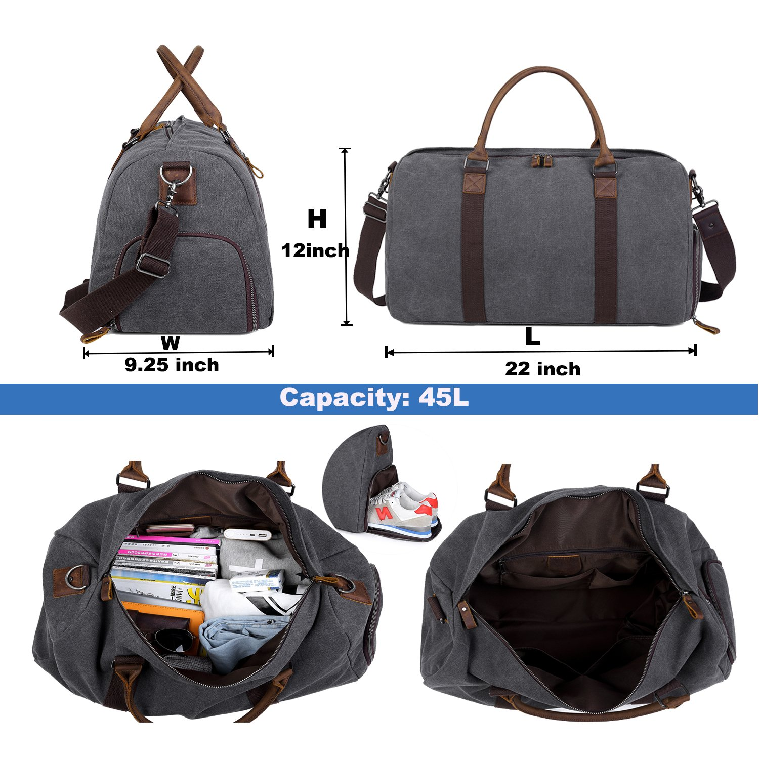 Weekender Overnight Bag Men Canvas Duffel Bag with shoes compartment Carry on Travel Tote bag luggage