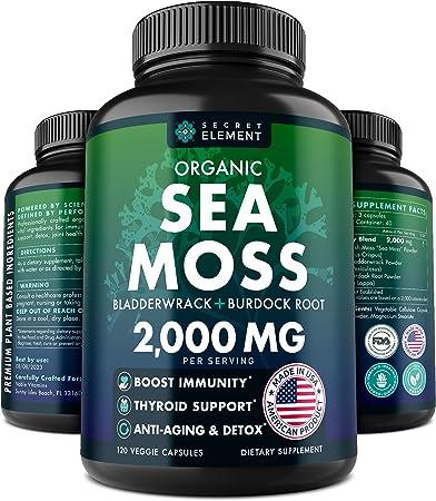Organic Sea Moss Capsules - Burdock Root, Irish Moss and Bladderwrack Capsules - Immune System, Gut Cleanse & Thyroid Supplement - 120 Irish SeaMoss Pills with All-Natural Sea Moss Powder