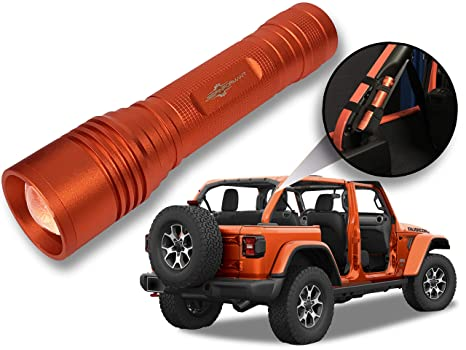 f75a66dee Jeep Wrangler Accessories Punk'n Orange Colored LED Flashlight with Roll  Bar Holster Holster fits