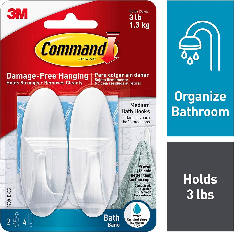 Command Designer Bath Hooks, Medium, White, 2-Hooks with Water-Resistant Strips (17081B-ES)