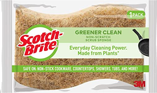 Scotch-Brite Greener Clean Non-Scratch Scrub Sponges, Cleans Fast without Scratching, Stands Up to Stuck-on Grime, 12 Scrub Sponges