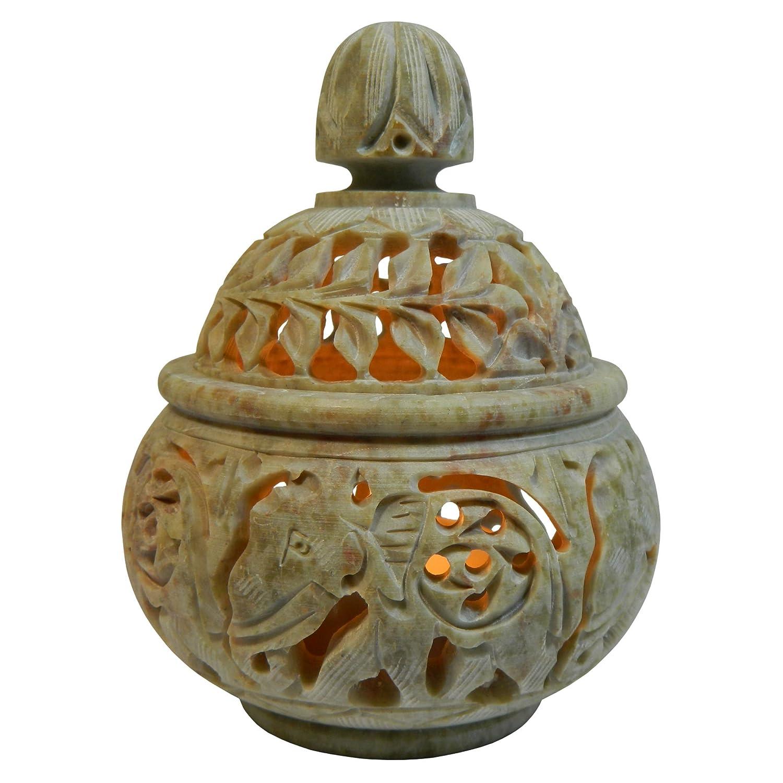 Bougeoir pour bougies chauffe-plat Lumignon en Stéatite pierre à savon Motif Éléphants Artisanat indien indischerbasar.de