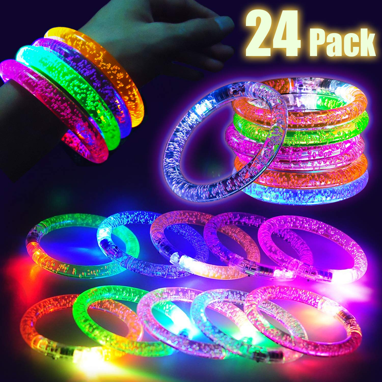 24 Pcs Flashing LED Bracelets Light Up Toys Glow Bracelet Glow in the Dark Party Supplies Fluorescence Bracelet for Neon Party, Concert Wedding,Birthday,Night Game Fun Events for Women Men Teen Kid